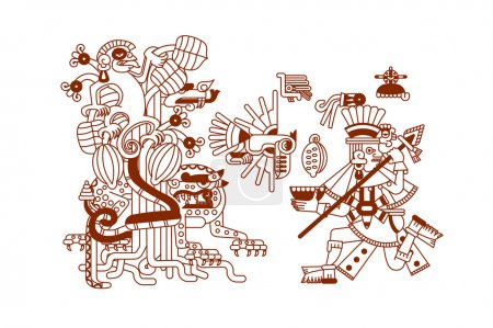 Vector illustration sketch drawing aztec cacao bea...