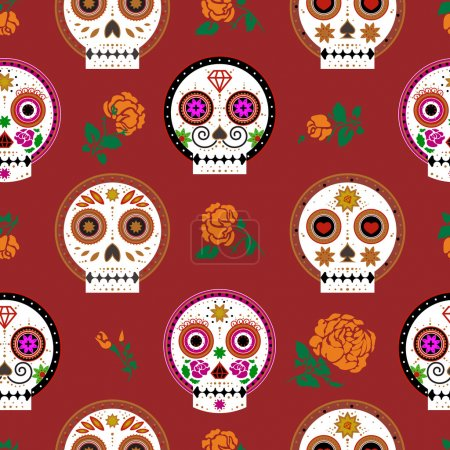 seamless pattern with decorate skull, roses on red background