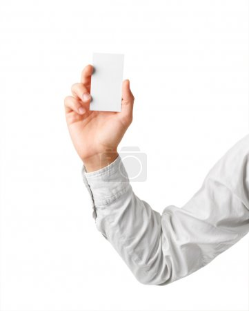 Blank business card in man's hand