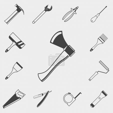 Set of construction tools monochrome icons. Hammer, spanner, screwdriver, pliers, axe, saw, brush, roller, spatula, razor, tape measure, flashlight.