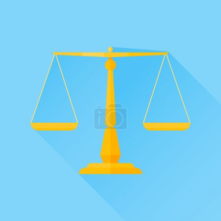 Illustration for Scales of justice flat icon with long shadow on blue background - Royalty Free Image