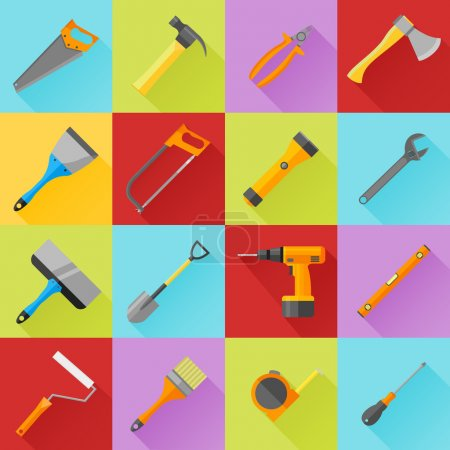 Illustration for Set of construction tools flat icons with long shadow - Royalty Free Image