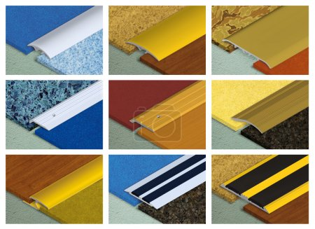 Photo pour Profil en aluminium pour raccordement des revêtements de sol - image libre de droit