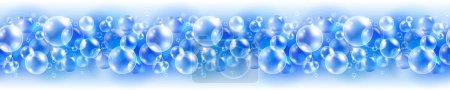 Abstract cyan seamless border with air bubbles
