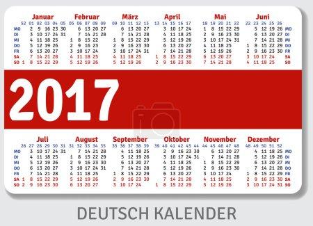 German pocket calendar for 2017