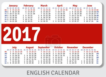 English pocket calendar for 2017