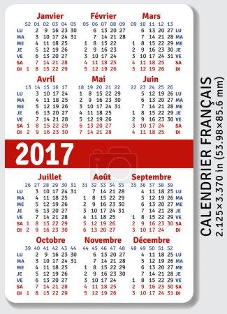 French pocket calendar for 2017