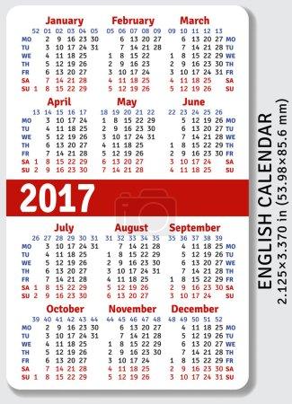 English pocket calendar for 2017