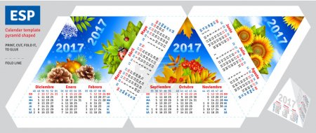 Template spanish calendar 2017 by seasons pyramid shaped
