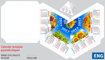 Template english calendar 2017 by seasons pyramid shaped