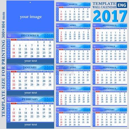 English template wall quarterly calendar 2017