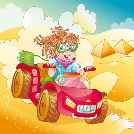 Girl riding quad bike