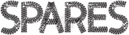 Spares text with the letters made from motorcycle tire tracks