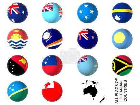 Photo pour 3D flags of oceania countries - image libre de droit