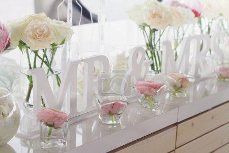 Décorations de table de mariage Mr et Mme