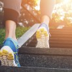 Athlete runner feet running in nature, closeup on ...