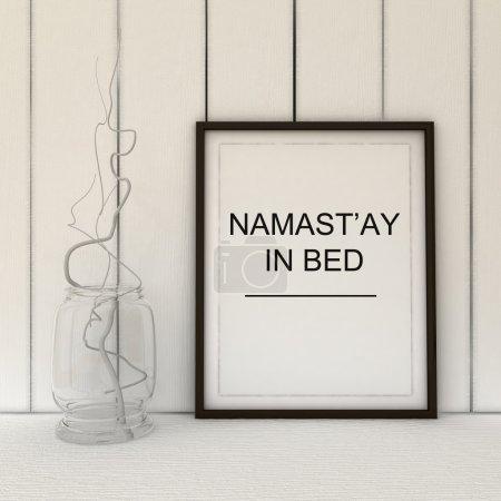 Namast'ay in bed. Namaste yoga art. Bedroom decor. Yoga gift idea. Motivation art. Inspirational quote.Home decor wall art. Scandinavian style home interior decoration