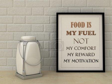 Photo pour Mots de motivation La nourriture n'est pas le carburant de mon confort, récompense, motivation. Manger sainement, Mode de vie, Auto-développement, Travailler sur moi-même, Changement, concept. Citation inspirante . - image libre de droit