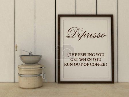 Depresso Kitchen Art poster. Coffee lover art. Office Decor. Gourmet  gift idea. Inspirational quotation. Home decor. Scandinavian style
