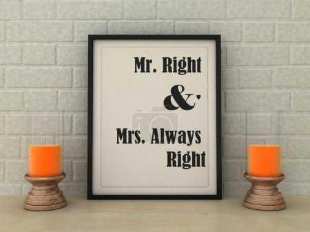 Valentine's poster  Mr. Right and Mrs. Always right. St. valentine gift idea, Inspirational quotation. Anniversary present. Love, Hamily, Happiness concept. Home decor art.