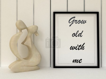Valentine's poster  Grow old with me. st. valentine gift idea, Inspirational quotation. Anniversary present. Love, Family, Happiness concept. Home decor art.
