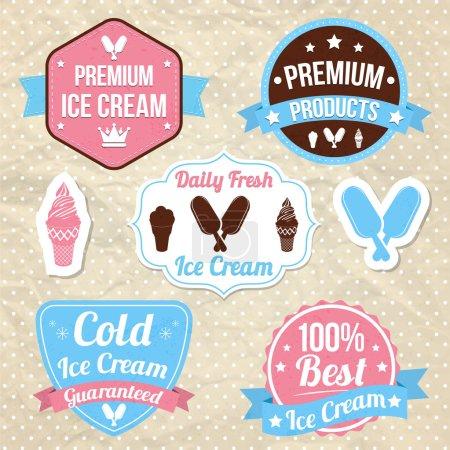 Illustration pour Ensemble d'insignes et d'étiquettes de logo vintage de magasin de crème glacée sur fond rétro. Crème glacée Premium, Crème glacée froide garantie, meilleure crème glacée, Produit Premium - image libre de droit