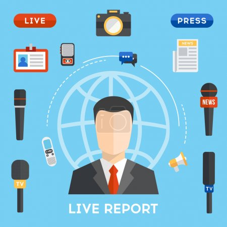 Live Report Concept in flat design