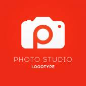 Camera Logo Design for Creative Photo Studio with Letter P inside Vector Illustration Isolated on Red Background