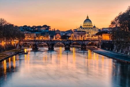 Sunset at Saint Peter's Basilica in Vatican City State