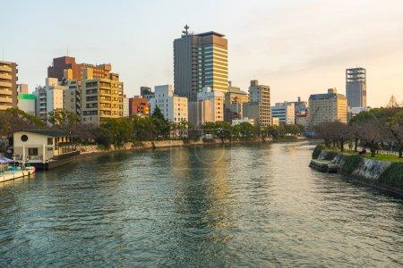 Hiroshima Skyline and the Ota River in Japan
