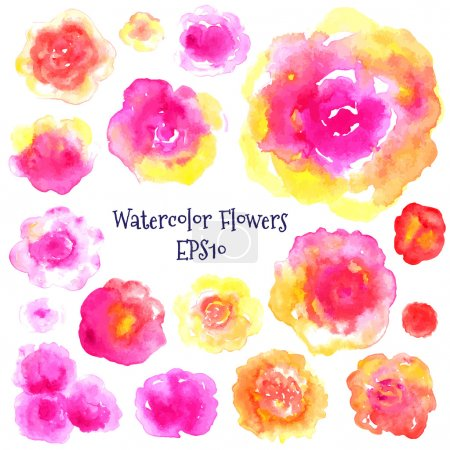 Watercolor flovers set