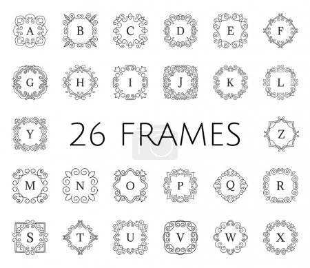 Illustration for Vintage floral frame collection. Vector monogram illustrations set. Line style design. Decorative ornament with abstract flowers. Logo template. - Royalty Free Image