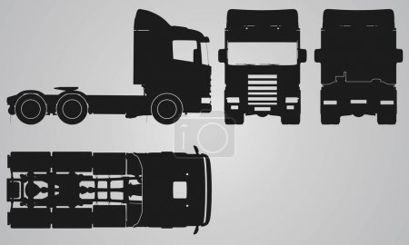 Front, back, top and side truck without trailer projection