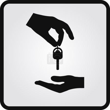Illustration pour Icône concessionnaire de voitures plates. Mains et clés - image libre de droit