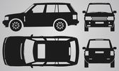 Front back top and side SUV projection Flat illustration for designing icons