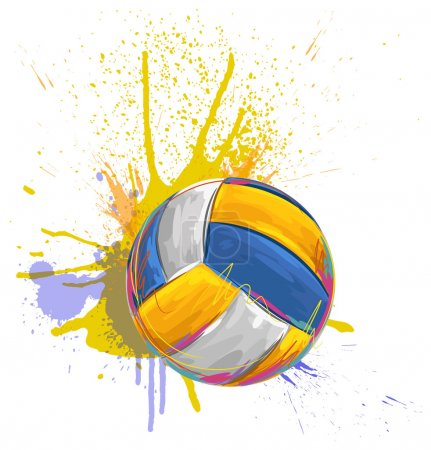 Volleyball ball on background of grunge colorful s...