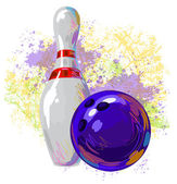Bowling ball and pin on background of colorful grunge spots of paint