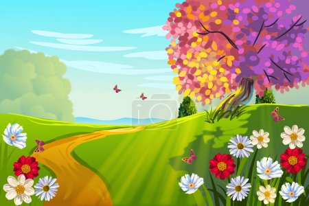 Illustration for Beautiful Spring Landscape with road - Royalty Free Image