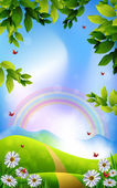 Beautiful Spring Background with rainbow flowers and butterflies