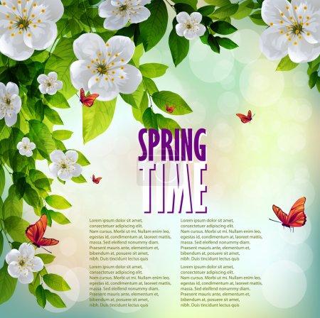 Illustration pour Beau fond de printemps avec des fleurs de cerisier blanc et des papillons sur fond bokeh - image libre de droit