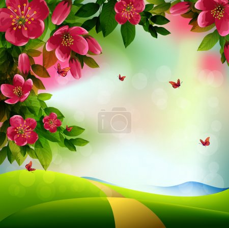 Illustration for Beautiful Spring Background with red cherry flowers and butterflies on meadow background - Royalty Free Image