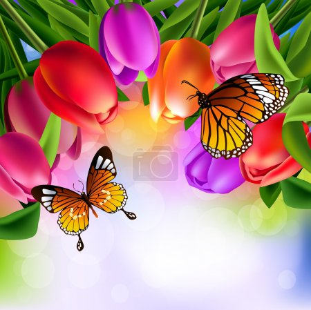 Illustration for Spring background with colorful tulips and butterflies on blurred background - Royalty Free Image