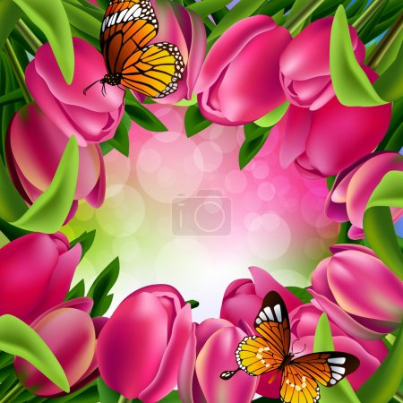 Illustration for Spring background with pink tulips and butterflies on blurred background - Royalty Free Image