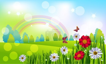 Illustration for Beautiful Spring landscape with flowers and butterflies - Royalty Free Image