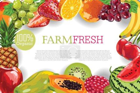 Illustration pour Fruits croquants dessinés à la main Cadre sur fond blanc. Conception de menu - image libre de droit