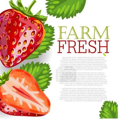 Illustration pour Conception de menu esquissé à la main avec fraise fraîche sur fond blanc - image libre de droit