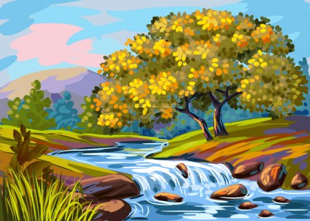 Illustration for Beautiful hand drawn sketchy summer landscape with waterfall on river - Royalty Free Image