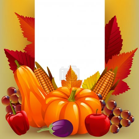 Illustration for Beautiful Thanksgiving day and Autumn Harvest Background with white card - Royalty Free Image