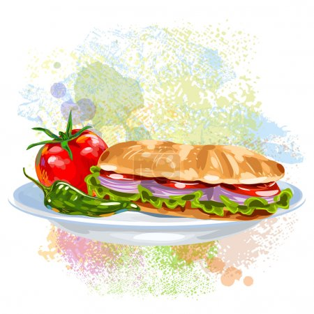 Vegetable Sandwich on paint blots