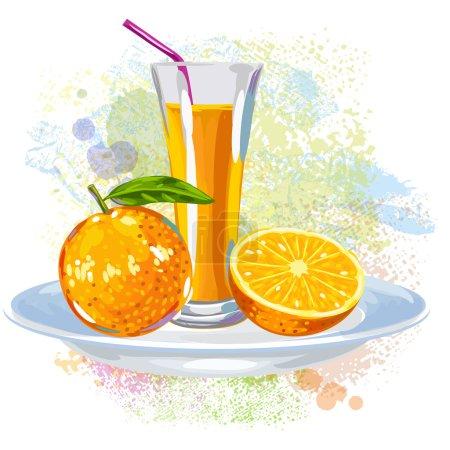 Orangensaft auf Farbklecksen